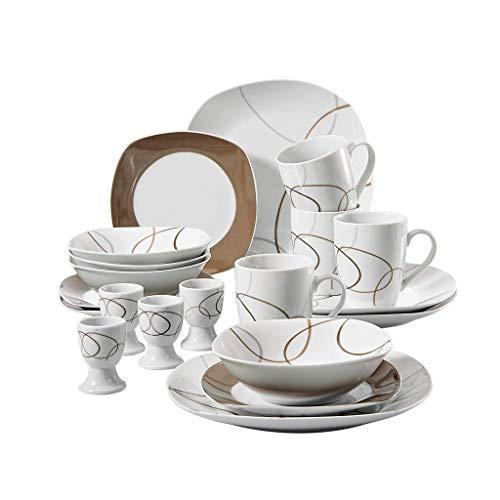 TQBHD Cocina de 20 Piezas Cena de Porcelana Plato de Cena Combinado Conjunto de vajillas con 4 * Taza de Huevo, Taza, Placa de Postre, Cuenco, Plato de Cena