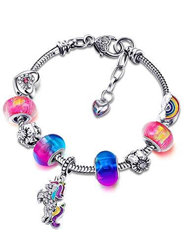Jieddey Pulsera de Cuentas Unicornios,Pulsera de Unicornio para Niñas Diamantes de Imitación de Cristal Pulsera Chica para Niños Regalos de Cumpleaños Joyas para Niña Color del Arco Iris