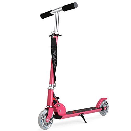Fascol Patinete plegable con dos ruedas, Fascol Patinete Monopatín Scooter para ciudad niños 3 - 13 años, Rosa