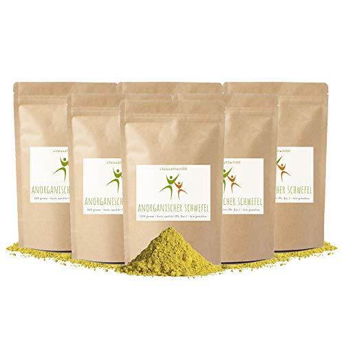 Anorganischer Schwefelpulver - 3 kg (6 x 500g) - SULFUR – Reinheit mind. 99,9% - säurearm - natürlicher Rohstoff - beste Qualität aus Deutschland - fein gemahlen - OHNE Zusatzstoffe