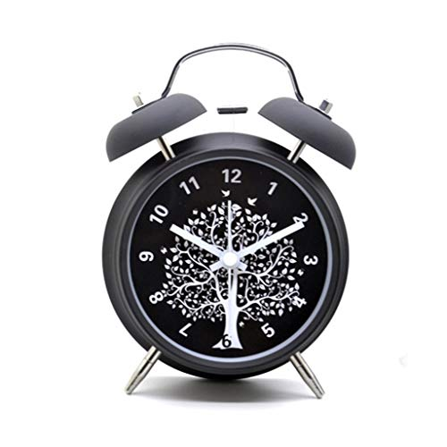 Alarm Clock Battery Operated Silent Night Light Backlight Thuis Bedroom Nachtkastje Clock Twin Bell Design Style Boerderij Stil Ontwerp (Color : A, Size : 11.5cm*5.5cm*16cm)