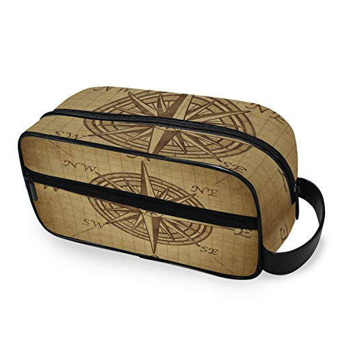 Trousse de maquillage Old Vintage Compass Rose Wallet Toiletry Pouch Storage Portable Travel Tools Cosmetic Train Case