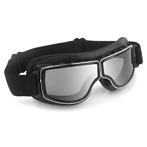 Motorcycle Goggles Vintage Anti Fog Pilot PU Leather Glasses Dustproof ATV Off Road Motorbike Helmet Eyewear Protect for Ridding Motorcross Classes Aviator Goggles (Black&Gray Lens)