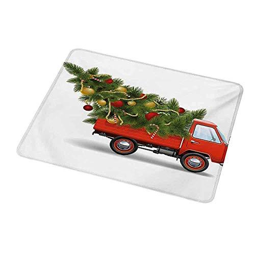 Computertastatur-Mausmatte Weihnachten, roter Retro-Art-Bauernhof-LKW und gro脽er Weihnachtsbaum mit Lametta-Balls-S眉脽igkeit, wei脽es rotes Gr眉n f眉r magische Maus
