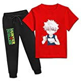 CAPINER Youth Summer Kil-lua Zold-yck Cotton T-Shirt and Fashion Sweatpants Outfits 2 Pieces Sets Boys Girls X-Small Red