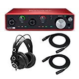 Focusrite Scarlett 4i4 3rd Gen 4x4 USB Audio Interface Bundle with Headphones and 2 XLR Cables (3...