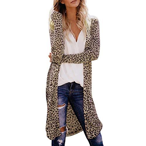 Damen Langer Leoparden Muster Cardigan Lange Leo Print Stricjacken Casual Elegant Dünn Stricjacke, Frauen Langarm Bluse Longshirt Longpullover Trenchcoat Lang Coat Braun