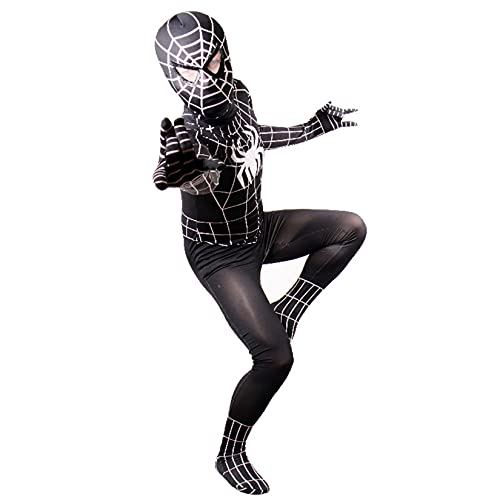 LQ-LIMAO Spiderman OnesuitCospalia para Niños Superhero Traje Traje Unisex Body Kids Adultos Zentai Lycra Spandex Traje para Regalos De Fiesta De Halloween,Black Spiderman-Kids/XL(135~145cm)