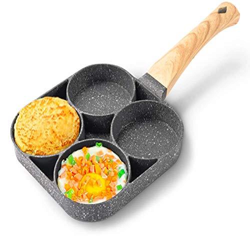 YOOXI Sartén de 4 agujeros para huevos de hamburguesa y panqueques, de aleación de aluminio frito para huevos, cocina de desayuno, mango de madera apto para estufa de gas y cocina de inducción