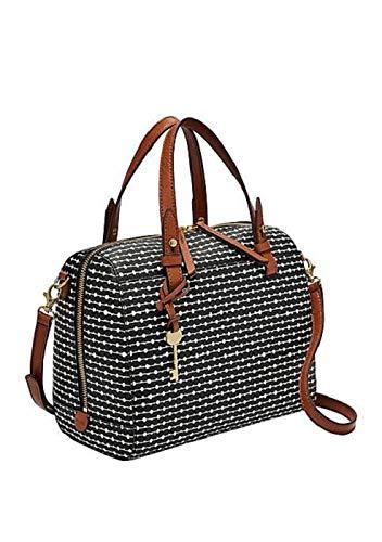 Fossil Women's Rachel Faux Leather Satchel Handbag, Black Key Stripe