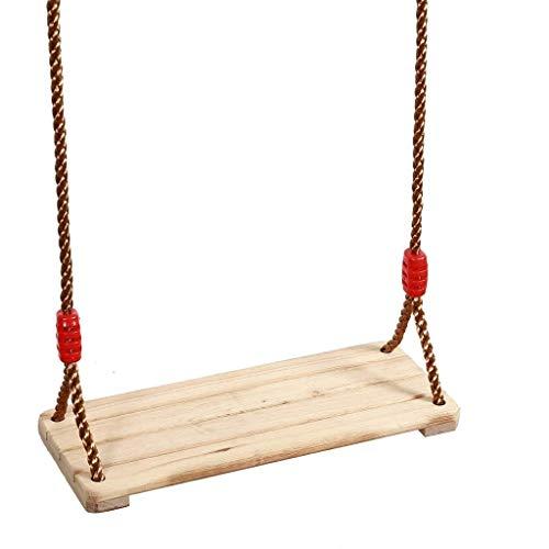 LUGEUK Se Puede Colgar Asiento de Madera, Duradero, Swing Resistente, Adecuado para niños, jardín Infantil, Patio, Uso en Interiores, Juguetes para niños de 6 a 10 años.