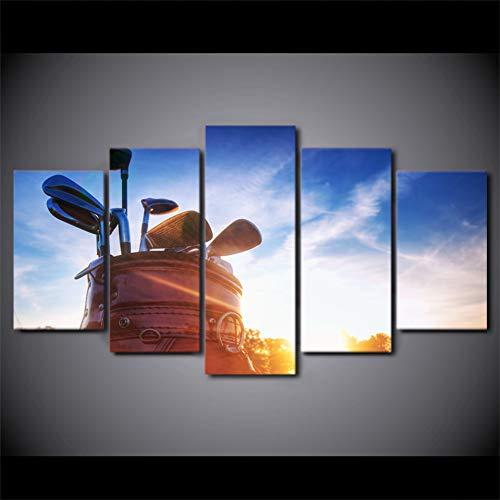 suhang Canvas muurkunst schilderijlijsten wooncultuur kamerposter 5 stuks golfclubs gedrukt blauwe hemel zonneschijn landschapsafbeeldingen 40x60 40x80 40x100cm Frame