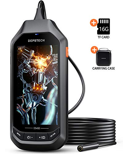 5.0MP Borescope with 4.5in IPS Screen, DEPSTECH 1944P HD Digital Endoscope, 0.33in Thin Waterproof Inspection Camera, 6 Adjustable LED Lights, 1.96in to 200in Focal Distance(16.5ft)