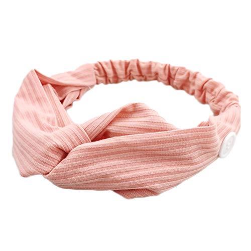XUNMOWEI Brei Losse Cross Hoofdband voor Vrouwen Yoga Sport Workout Turban Heawrap voor verpleegkundigen en iedereen het dragen van een masker - Bescherm uw oren Pink-2