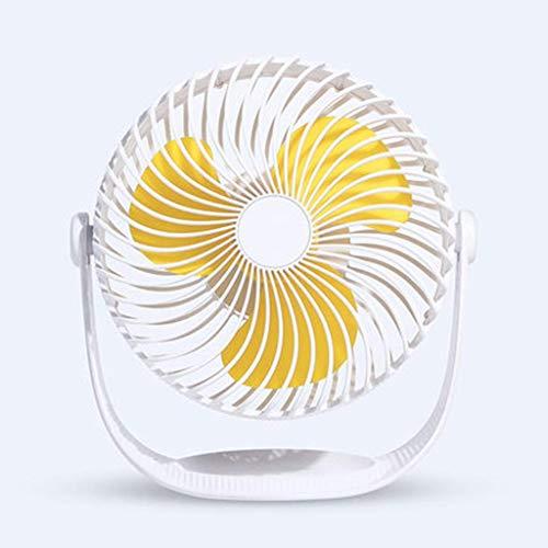 WSJ Ventilador eléctrico portátil recargable pequeño silencioso ventilador de oficina escritorio hogar ventilador eléctrico de 19,6 x 11,7 x 20,4 cm, amarillo