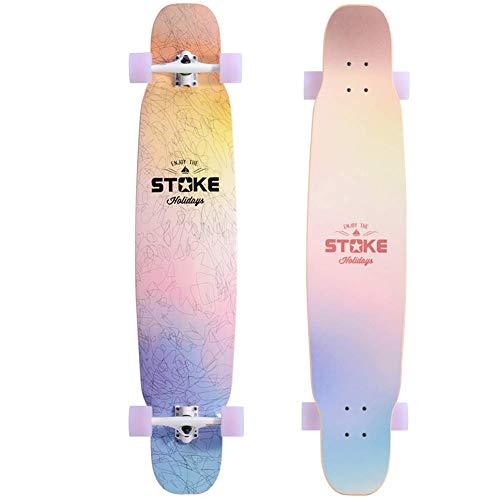 Klassische Longboards, Premium Straight-Out Freestyle Skateboard, für Teenager Erwachsene Anfänger Mädchen Jungen Kinder Laden 150 KG, Denkmäler Geschenk