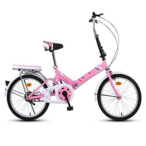 Bicicleta de montaña plegable de 16 pulgadas, bicicleta plegable urbana, bicicleta plegable compacta, marco de soporte de doble tubo de acero con alto contenido de carbono, diseño más seguro, rosa