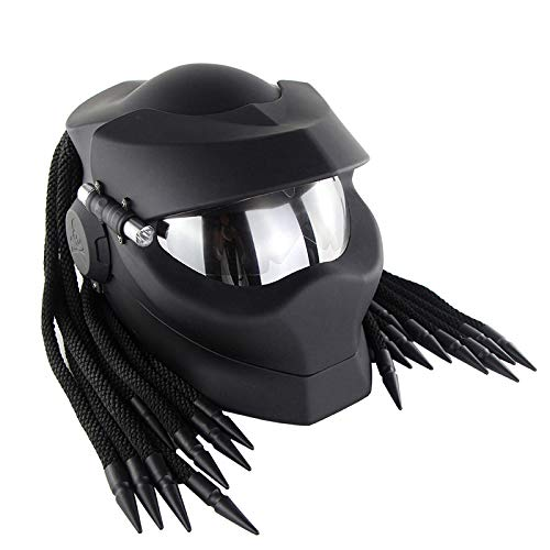 Predator Jagged Warrior Front Flip Open Casques, D.O.T Certifié Conduite de la Moto Masque Scorpion Rétro Cross-Country Tresses frangées Casque LED,Matteblack,L