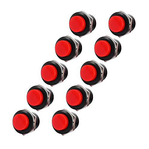 XJF 10 interruptores de botón de 16 mm de color rojo con tapa redonda y botón momentáneo