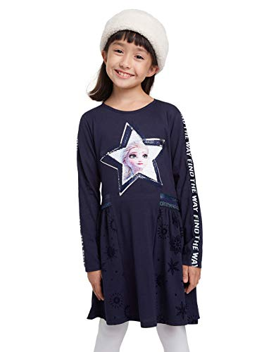 Desigual Girls Vest_Star Casual Dress, Blue, 5/6