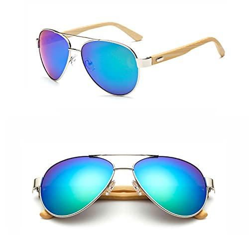 YuanRuiWMS Gafas de sol hechas a mano, patas de bambú natural, gafas de hombre, gafas de mujer, gafas de sapo (color 06)
