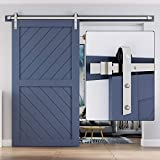 EaseLife 8 FT Heavy Duty Brushed Nickel Sliding Barn Door Hardware Track Kit,Modern,Slide Smoothly Quietly,One Piece 8FT Track,Easy Install,Fit 40'~48' Wide Door (8FT Track Single Door Kit)