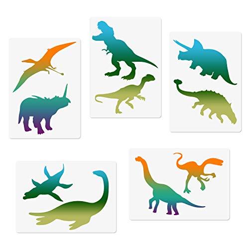CODOHI 5 Dinosaurier-Tiere Schablonen-Set ¨C Tyrannosaurus Rex Triceratops Pterosaurier Raptor Designs, A4 Vorlagen f¨¹r Kunstkarten, Notizbuch, Scrapbooking DIY M?bel Wand Boden Deko 29,7 x 21 cm