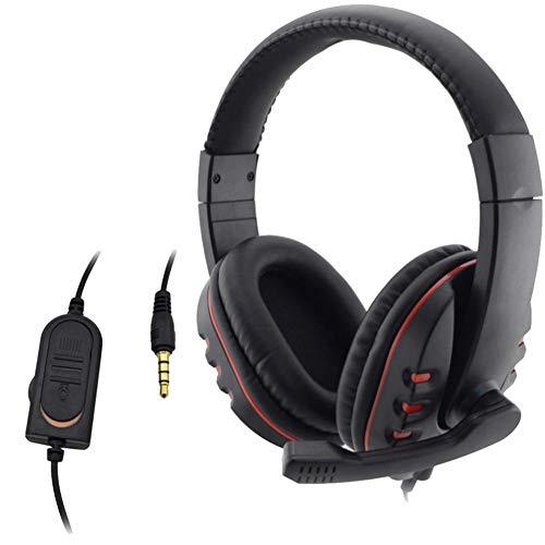 Auriculares de juego estéreo con auriculares bilaterales grandes negros y rojos con cable adaptador de PC Compatible con PS4, xBox One, PC o cualquier dispositivo con puerto de 3.5mm