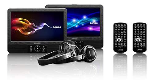 Lenco DVP-939? 9 inch draagbare dvd-spelerset. onafhankelijk te bedienen ? USB- en SD/MMC-aansluiting. Geïntegreerde accu. zwart. 2x9