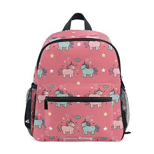 Horse Unicorn Toddler Backpack Bookbag Mini Shoulder Bag for 1-6 Years Travel Boys Girls Kids with Chest Strap Clip Whistle