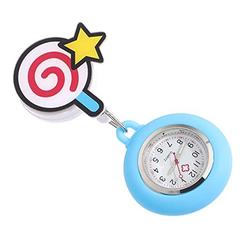 Abaodam Reloj de Bolsillo con Clip de Dibujos Animados Reloj Colgante de Enfermería Reloj de Bolsillo Elástico Dial de Lectura Fácil Reloj de Estudiantes Médicos