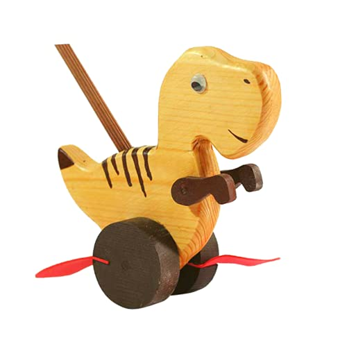 Wooden Cute Dino Walk Along Push and Pull Walker Toy for Kids 1 2 3 4 Years, Encourages Toddler to Walk