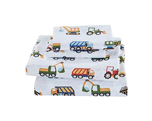 Elegant Homes Construction Site Equipment Trucks Tractors Cranes Excavators Design 4 Piece Printed Sheet Set with Pillowcases Flat Fitted Sheet for Boys/Kids # Construction Trucks (Full Size)