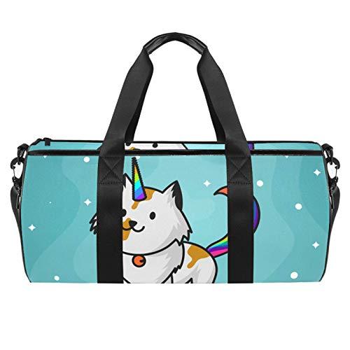 LAZEN Hombro prácticos bolsos deportivos para gimnasio, bolso de viaje, bolso de mano para hombres, mujeres, lindo gato, unicornio, aspirante a imágenes prediseñadas