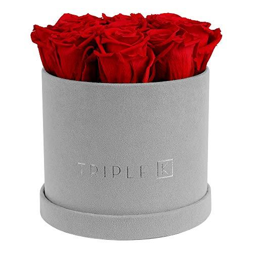 TRIPLE K - Rosenbox Velvet mit 9 Infinity Rosen, bis 3 Jahre Haltbar, Flowerbox mit konservierten Rosen, Blumenbox Inkl. Grußkarte (Rot)