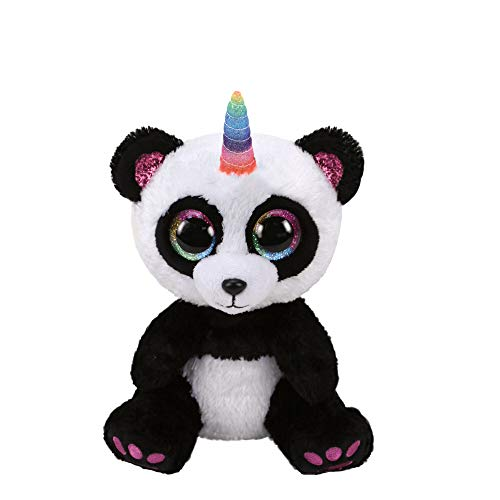 Claire's Official Ty Beanie Boo Paris The Panda Soft Plush Toy for Girls, Black/White with Rainbow Horn, Small, 6 Inches