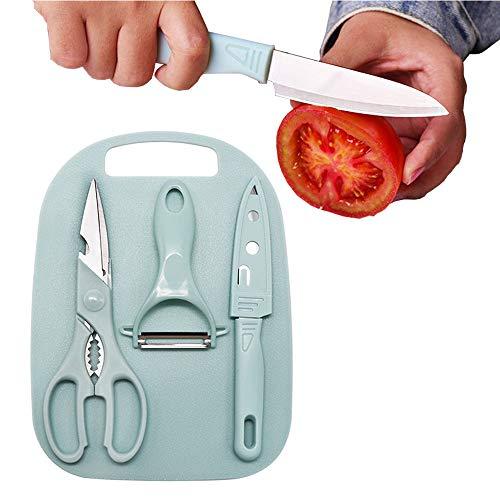 Juego de 4 peladores de cocina para el hogar, cuchillo pequeño con cubierta, tijeras de acero inoxidable, tabla de cortar y pelador para frutas y verduras (azul)