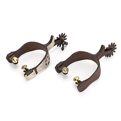 Espuelas de caballo de acero con bajo contenido de carbono, espuelas de bota de caballo de vaquero Decoración de escultura de mano con espuelas de engranaje para botas Equipo ecuestre para competición