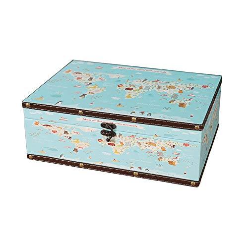 WNN URG - Caja de joyería decorativa rectangular para mujer, ideal para pendientes, collares, anillos y pulseras (color: verde) URG (tamaño: 23,6 x 16,5 x 9,3 cm)