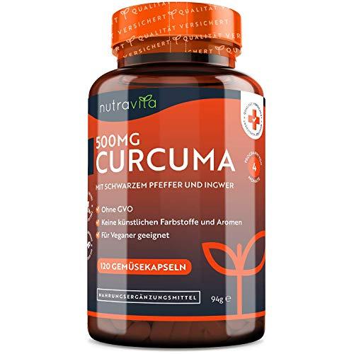 Curcuma Extrakt Kapseln – Curcumingehalt EINER Kapsel entspricht dem von ca. 25.000mg Kurkuma – Hochdosiert aus 95% Extrakt – 4 Monats vorrat – Vegan - Hergestellt von Nutravita