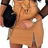 Vanornia Minifalda para Mujer Falda de Cuero Sintético Ajus