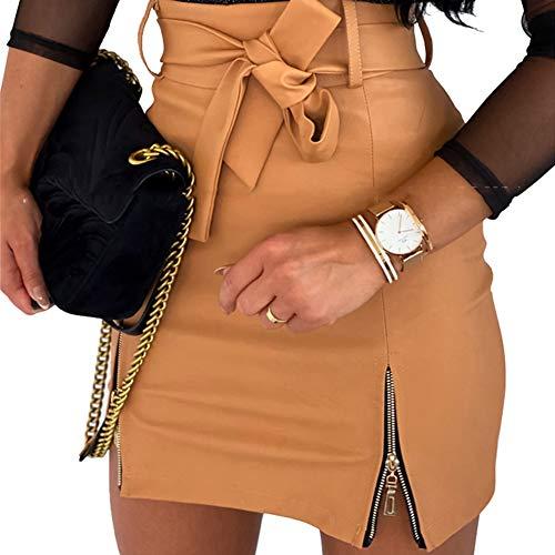 Vanornia mini jupe en cuir synthétique pour femme, coupe slim adhérente, taille haute, avec fermeture éclair, décontractée, sexy et élégante, A-Kaki, M