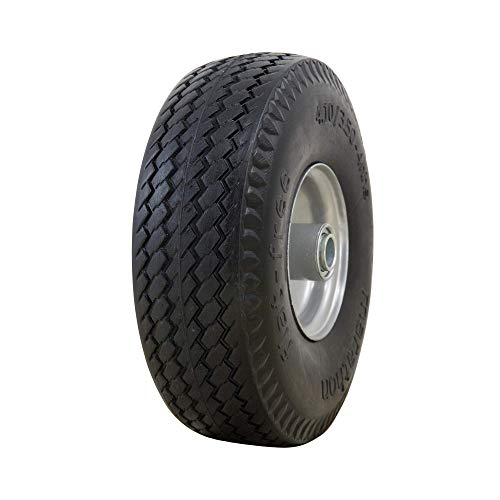 Marathon 4.10/3.50-4' Flat Free, All Purpose Utility Tire on Wheel, 3.5' Centered Hub, 3/4' Bearings