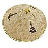 Berrywho Retro China de bambú ratán Pescador Sombrero Hecho a Mano de la Armadura del Sombrero del Cubo Hueco Natural Fuera del Enrejado de bambú Cap Braid Pesca Parasol Sombrero