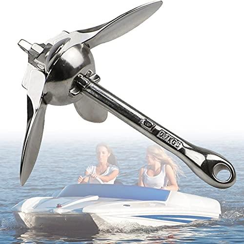 EnweLampi Anclas para Botes Pequeños, Ancla de Canoa con Acero Inoxidable 316, Diseño Plegable Portátil para Kayak, Canoa, Moto de Agua, Bote Inflable