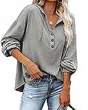 Beautmell Sweat à capuche à manches longues et col en V pour femme avec cordon de serrage, gris, S
