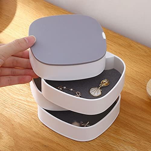 Aiglen Caja de almacenamiento de joyería con espejo giratorio Pendientes de pulsera Anillo Joyería Marco Caja de almacenamiento multicapa (Color : White, Size : Mcode)