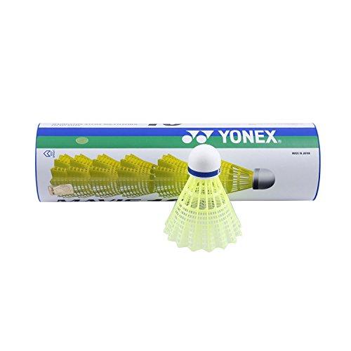 YONEX Mavis 10 Badminton-Federbälle, 6 Stück, Gelb
