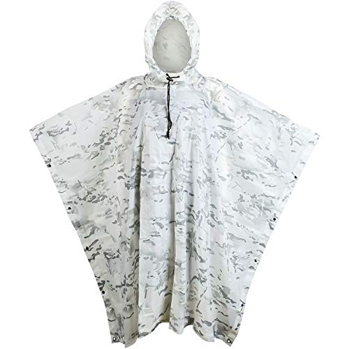 Tongcamo Camouflage Rain Poncho Waterproof 210T Ripstop Hooded Raincoat for Hunting Camping Marine Tent Shelter