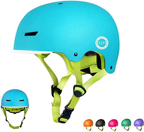 XJD Casco Bicicleta para Niños Ajustable con Certificación CE Resistencia al Impacto con Visera Extraíble para Ciclismo Monopatín Patines sobre Rueda para niños de 3 a 13 años(Azul S